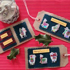 3 x Handmade Llama Gift Tags