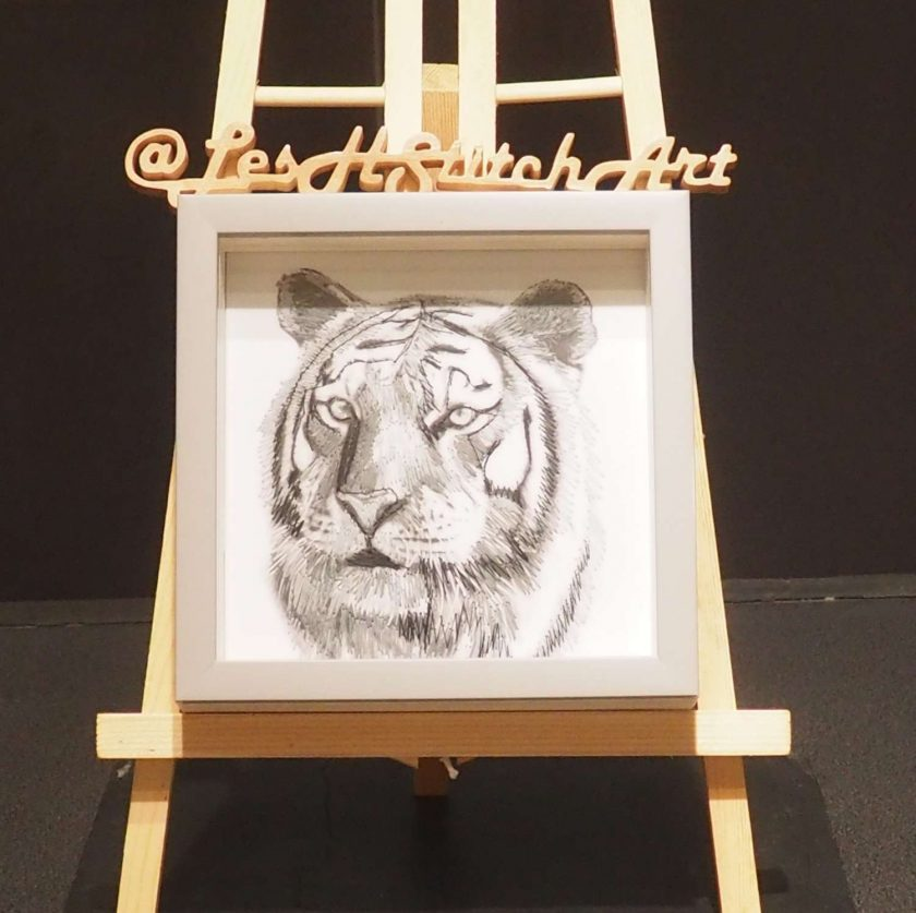 Tiger thread painting. Artwork.  Home decore. 1