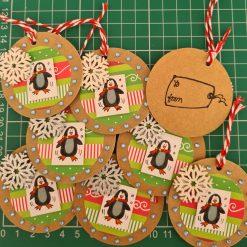8 x Handmade Christmas Penguin & Snowflake Gift Tags