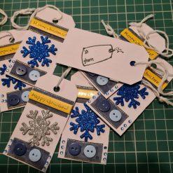 9 x Handmade Christmas Snowflake Gift Tags