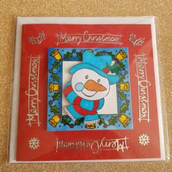 Small square snowman christmas card