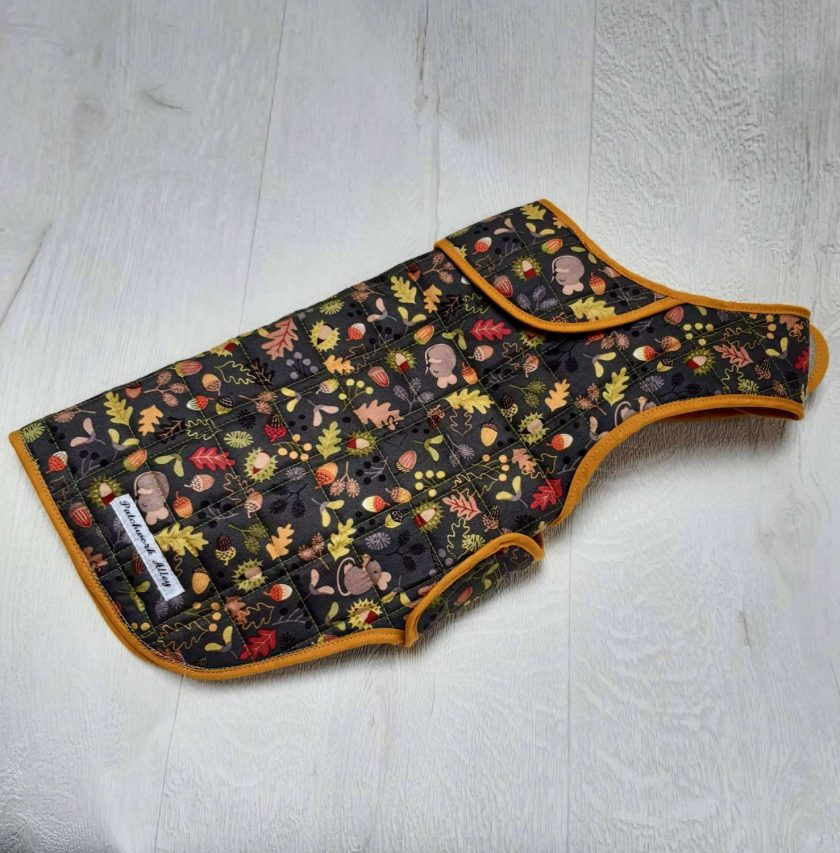 Quilted dog jacket - Woodland print (small) 1