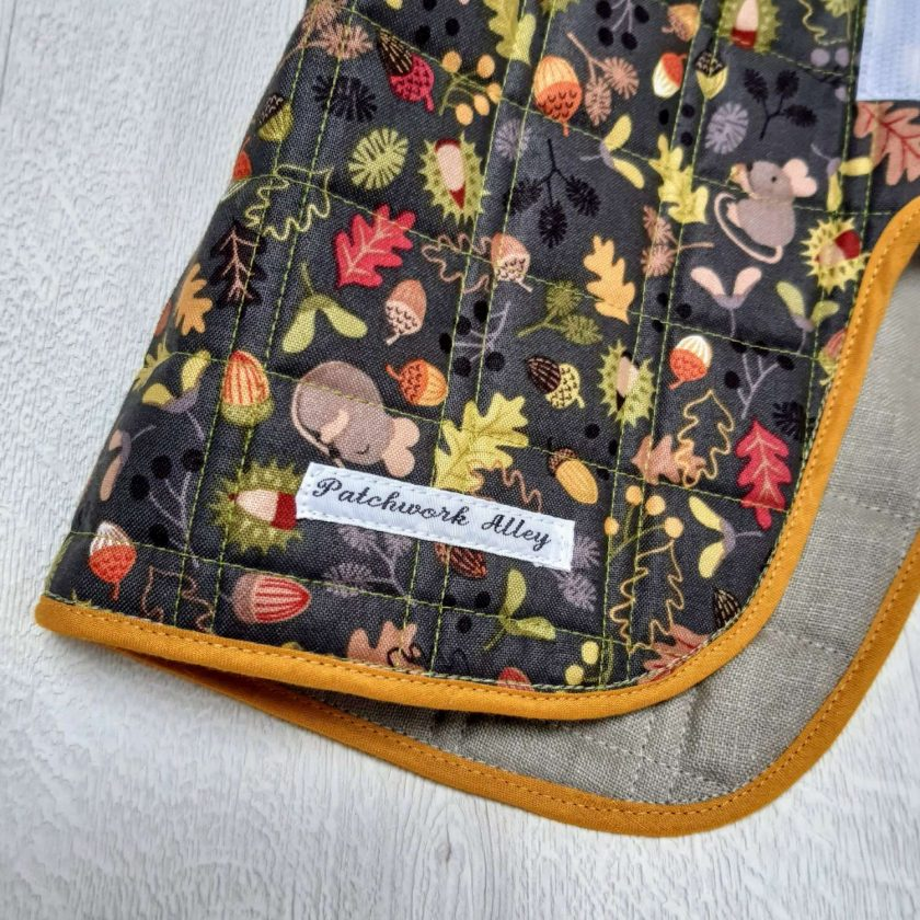 Quilted dog jacket - Woodland print (small) 2