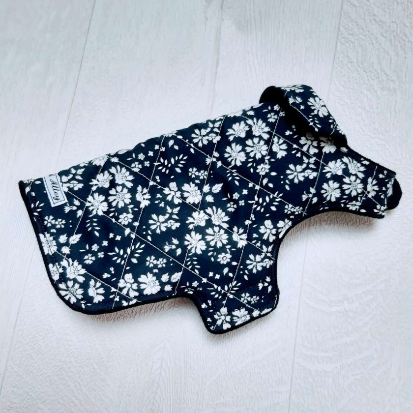 Quilted dog jacket - Navy floral (Extra, Extra Small) 1