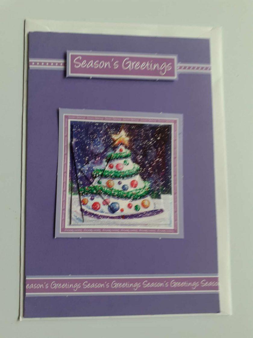 handmade christmas purple tree card 1