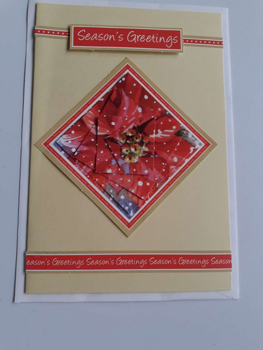 handmade christmas red flower card 1