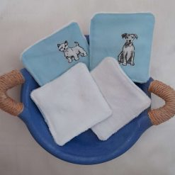 A set of 4 eco friendly reuseable makeup remover pads in a dog design