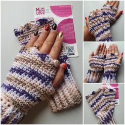 Handmade crocheted fingerless gloves. Purple/neutral