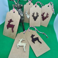 6 x Handmade Christmas Gift Tags (Wooden Stags/Reindeer)