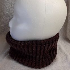 Brown mix loom knitted neck warmer