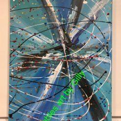 Striking blue abstract original acrylic painting