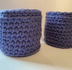 Blue Crochet Baskets
