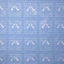 Sky blue crochet baby blanket and newborn hat 11