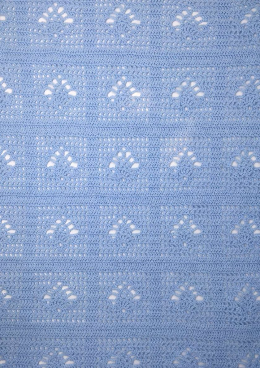 Sky blue crochet baby blanket and newborn hat 6