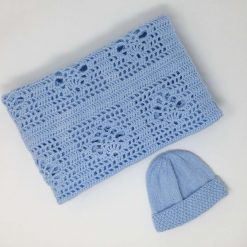 Sky blue crochet baby blanket and newborn hat 8