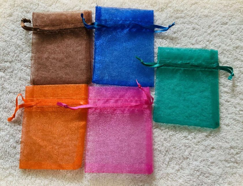 50 Brightly Coloured Small Organza Gift Bags 3