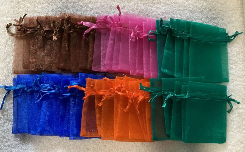 50 Brightly Coloured Small Organza Gift Bags 6