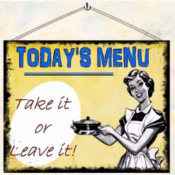 Today's Menu Fun Restaurant Kitchen Vintage Style Wall Plaque Hanging Sign