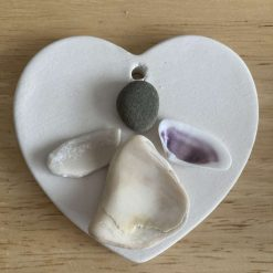 Handmade Pebble art Couple heart decoration