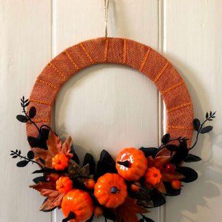 'Pumpkin Patch' faux flower wreath