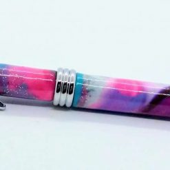 OOAK Hand made slimline twist ballpoint pen in pink and turquoise