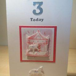 Pink Horse Carousel Handmade Greetings Card - Child Age Card 3rd Birthday Happy Birthday