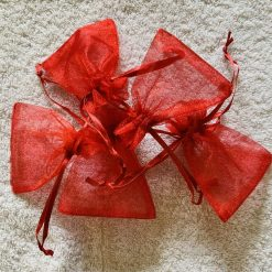 50 Christmas Red Small Organza Gift Bags