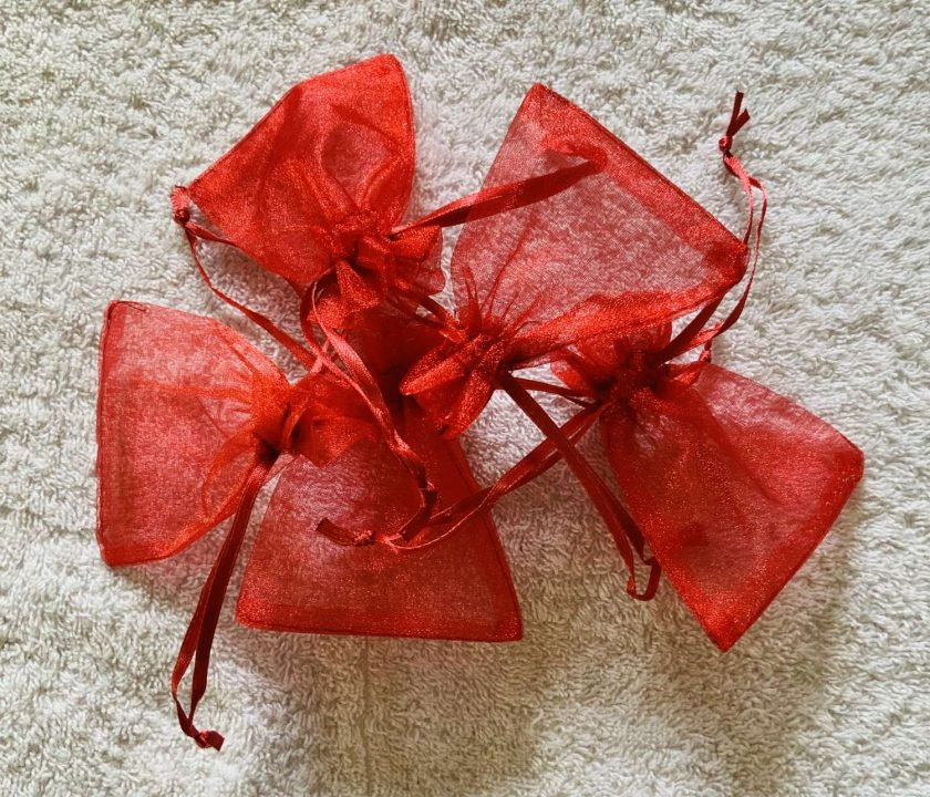 50 Christmas Red Small Organza Gift Bags 1
