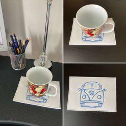 Campervan Coaster mug rug
