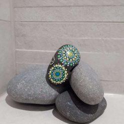 Mini mandala style hand painted pebble