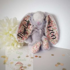 Personalised plush bunny,two ear personalisation.