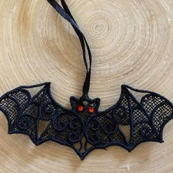 Small Free Standing Lace Bat Decoration