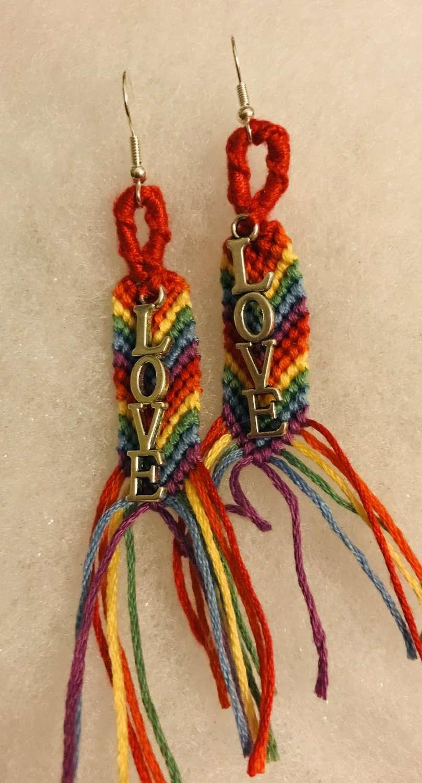 Rainbow Pride 🌈 Earrings with Love Charm 3