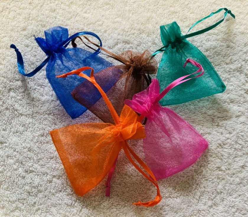 50 Brightly Coloured Small Organza Gift Bags 1