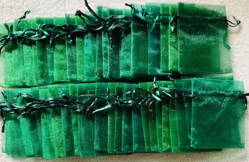 50 Christmas Green Small Organza Gift Bags 2
