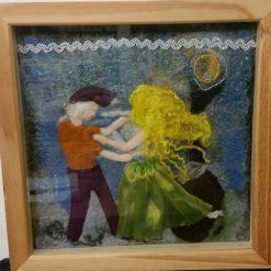 Dancers - Mixed Media, needle felted wall art