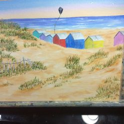 Flying the kite of Cornwall. Oil painted on a 25cmx20cm canvas board