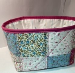 Fabric vanity box/bag - Pink Patch