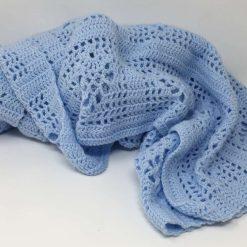 Sky blue crochet baby blanket and newborn hat 7