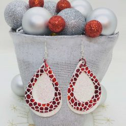 Large festive, sparkly, shimmery red and white earrings for Christmas