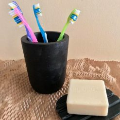 Toothbrush Holder and Soap Plate, Black Concrete