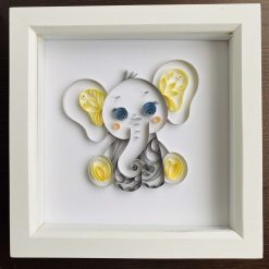 Quilled Baby Elephant – framed quilling art, great nursery / bedroom decor that can be personalised