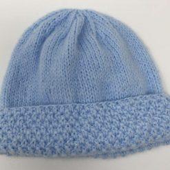 Sky blue crochet baby blanket and newborn hat 9
