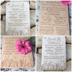 Engraved wooden wedding invitation
