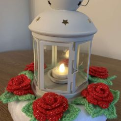 Lantern with Crochet Rose Ring Bright Red