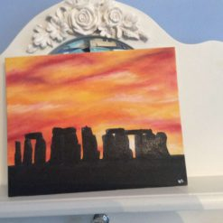 Stonehenge sunset on a 25cmx20cm canvas board, painted oils