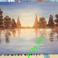 Golden Autumn lake Painting