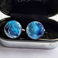 Stunning Ooak Hand Made Polymer Clay Cufflinks in blue, purple, black and white