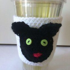 Cute Black Cat Cup Cozy Sleeve Reusable Coffee Tea