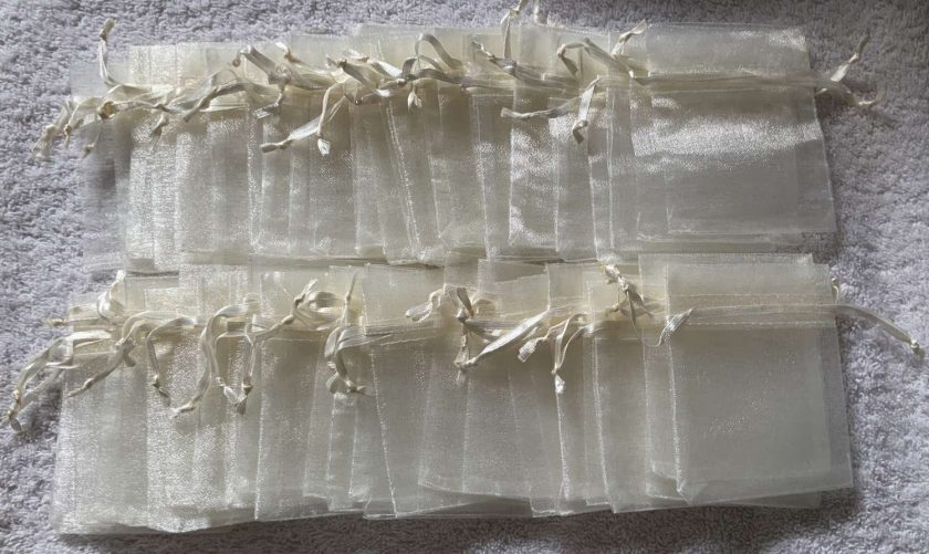 50 Ivory Cream Small Organza Gift Bags 6